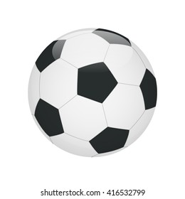 Flat realistic classic soccer football ball white black image on write background. Soccer game match goal moment.