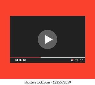 Flat Realistic video player template for web and mobile apps