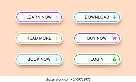 Flat rectangular white buttons with rounded corners with falling shadow. Vector buttons with multicolored outlines and icons. Ready templates for web design isolated on light background.