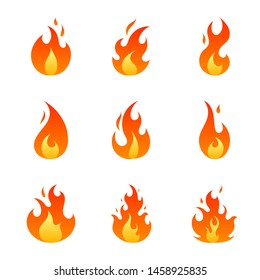 Flat red and orange fire flames set isolated on white background. Collection of hot cartoon light effect elements for web, game, design, app. Vector illustration