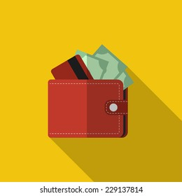 Flat red wallet with card and cash. Vector illustration, icon with long shadow. Modern design