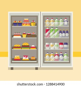 FLAT REFRIGERATOR WITH FOODS