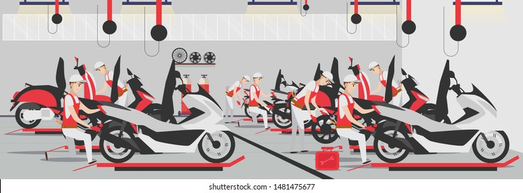 Flat repair motorcycle composition in garage vector illustration. A vector illustration of group of man fixing a motorcycle. fix Motorcycle repairs with tool kit in the workshop.