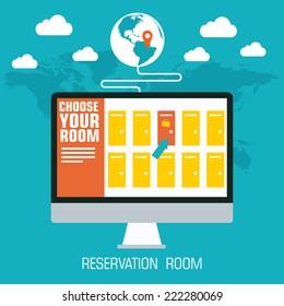 flat reservation room background design concept. Vector illustration