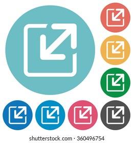 Flat resize icon set on round color background.