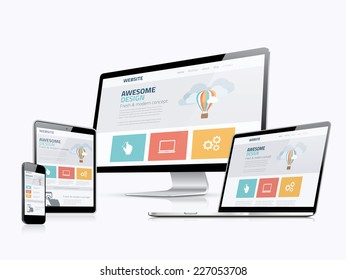 Flat responsive web design concept website development devices - Shutterstock ID 227053708