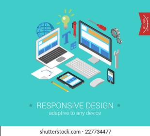 Flat responsive webdesign 3d isometric modern design concept vector. Laptop, desktop, tablet, touch screen phone website interface. Flat web illustration infographics collection for website.