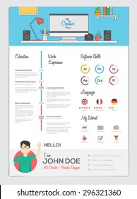 Flat Resume CV set with Infographics.  Vector