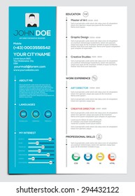 Flat Resume with Infographics. Cv set and icon collection. Vector
