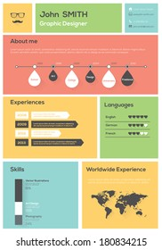 Flat Resume. With Infographics and Timeline. Vector Illustration
