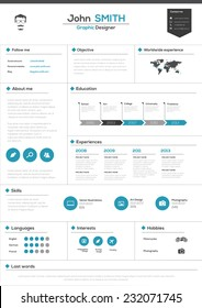 Flat Resume with Infographics and Timeline. Vector Illustration