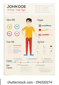 Flat Resume with Infographics. Vector