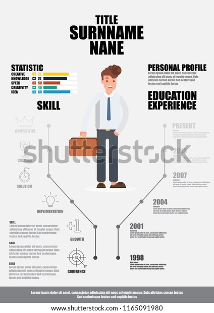 Flat Resume Infographics Resume Vector Stock Vector Royalty Free