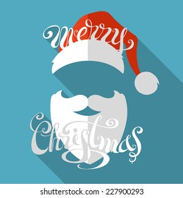 Flat retro Christmas card with long shadow. Hand-written text. Santa hat, moustache and beard.