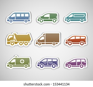 Flat retro color stickers - set five. Vector illustration 10eps