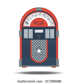 Flat retro jukebox isolated on white. Music device. Modern trendy design for music concept. Poster, card, leaflet or banner template design with place for text. Vector illustration.