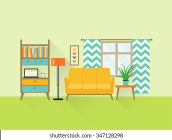 flat retro living room with sofa, window and bookcase. vector illustration