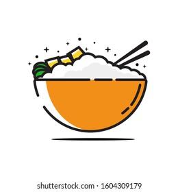 Flat Rice Bowl Vector Illustration