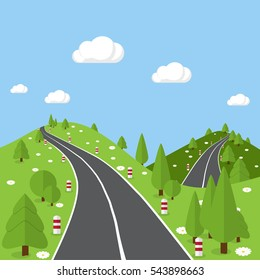 Flat road and nature background. Cartoon landscape illustration.