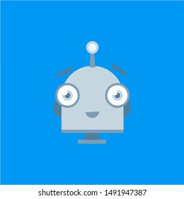 Flat robot cartoon icon in flat style on a blue background. Vector illustration.