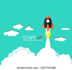 Flat rocket icon. Startup concept. Project development.Vector illustration with 3d flying rocket.Project start up and development process.Innovation product creative idea.Management.