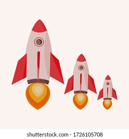 flat rocket style. rocket start-up design