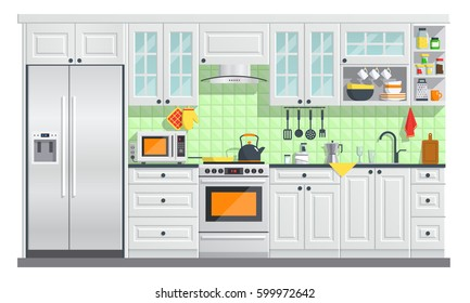 Flat room vector illustration. indoor kitchen Interior with, stove, cupboard, dishes and fridge. culinary decorations collection.