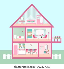 flat rose Dollhouse section with interior living room, functional attic, balcony. vector illustration