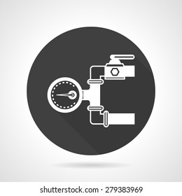 Flat round black vector icon with white silhouette pipeline with manometer on gray background.