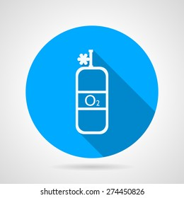 Flat round blue vector icon with white line oxygen cylinder with valve on gray background. Long shadow design
