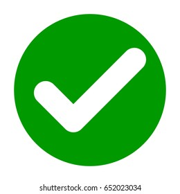 Flat round check mark green icon, button. Tick symbol isolated on white background. Vector EPS10