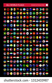 Flat Round Icons of All World Flags isolated on black background. Ultimate Vector Collection.