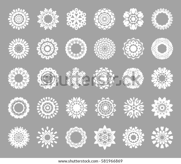 Flat Round Mandala Oriental Decoration Ornament. Abstract Decoration Element for use in graphic design. Silhouette. Background. Vector