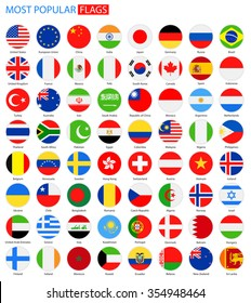 Flat Round Most Popular Flags - Vector Collection Vector Set of National Flag Icons