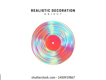 Flat Round music vinyl plate Realistic shape 3d objects with gradient holographic color of hologram. Geometric decorative design elements isolated on white background. vector illustration.