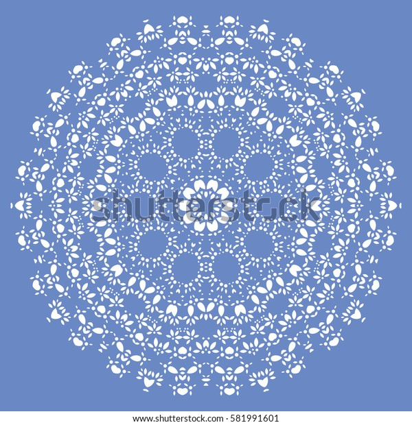 Flat Round Oriental Decoration Ornament. Abstract Background Element. Vector
