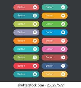 Flat rounded button set with icons
