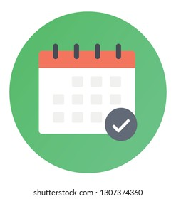 Flat rounded vector icon of calendar.