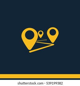 Flat route location vector icon isolated on dark blue background.