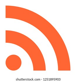 Flat RSS or WiFi icon really simple syndication sign subscribe button. Quick and easy recolorable shape isolated from background. Vector illustration a graphic element for web internet design.