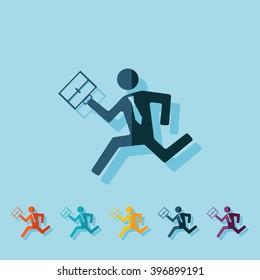 flat running man icon business theme