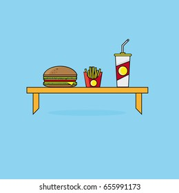 Flat Scene With Hamburger, Drink And French Fries Prepared On The Table