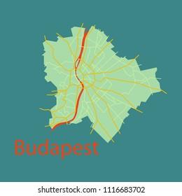Flat scheme of the Budapest, Hungary. City Plan of Budapest. Vector illustration