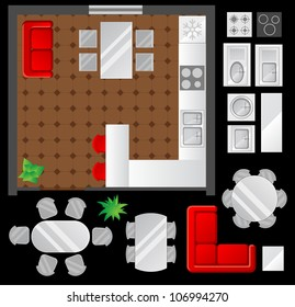 Flat scheme with furniture, view from above, kitchen and dining room