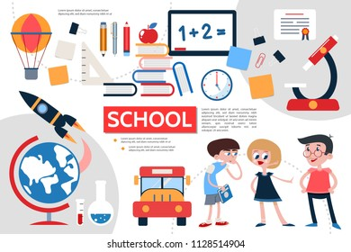 Flat school infographic concept with pupils rocket globe bus microscope ruler stationery books apple board clock stickers certificate clips air balloon vector illustration