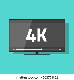 Flat screen tv with 4k Ultra HD video technology vector icon, led television display with high definition digital tech symbol