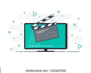 Flat screen tv with clapper board icon. Trendy flat vector on white background. Vector Illustration