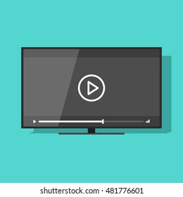 Flat screen tv with video player button vector illustration, concept of movie watching, television online cinema, theater, digital entertainment, video streaming technology
