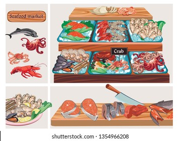 Flat seafood market composition with sturgeon octopus crab lobster caviar mussels prawns shrimps squid scallops zander salmon herring fishes meat on counter vector illustration