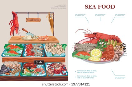 Flat seafood market concept with plate of sea food lobster squid caviar prawns shrimps mussels oysters crab scallops octopus on counter vector illustration